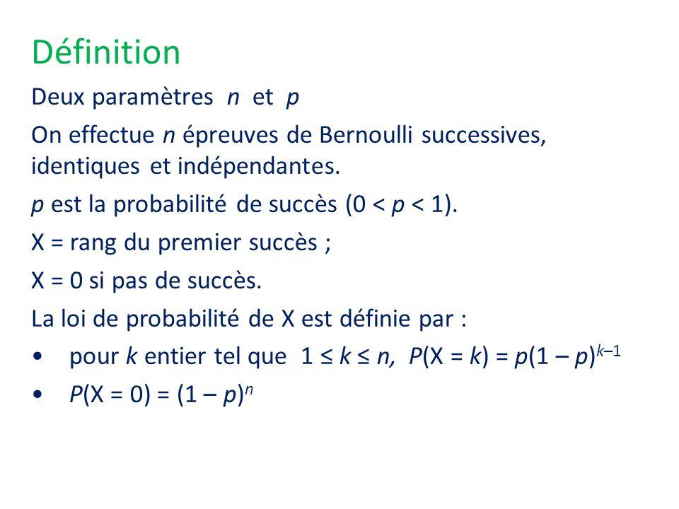 Définition Deux paramètres n et p On effectue n épreuves de Bernoulli successives, identiques et indépendantes. p est la probabilité de succès (0 < p