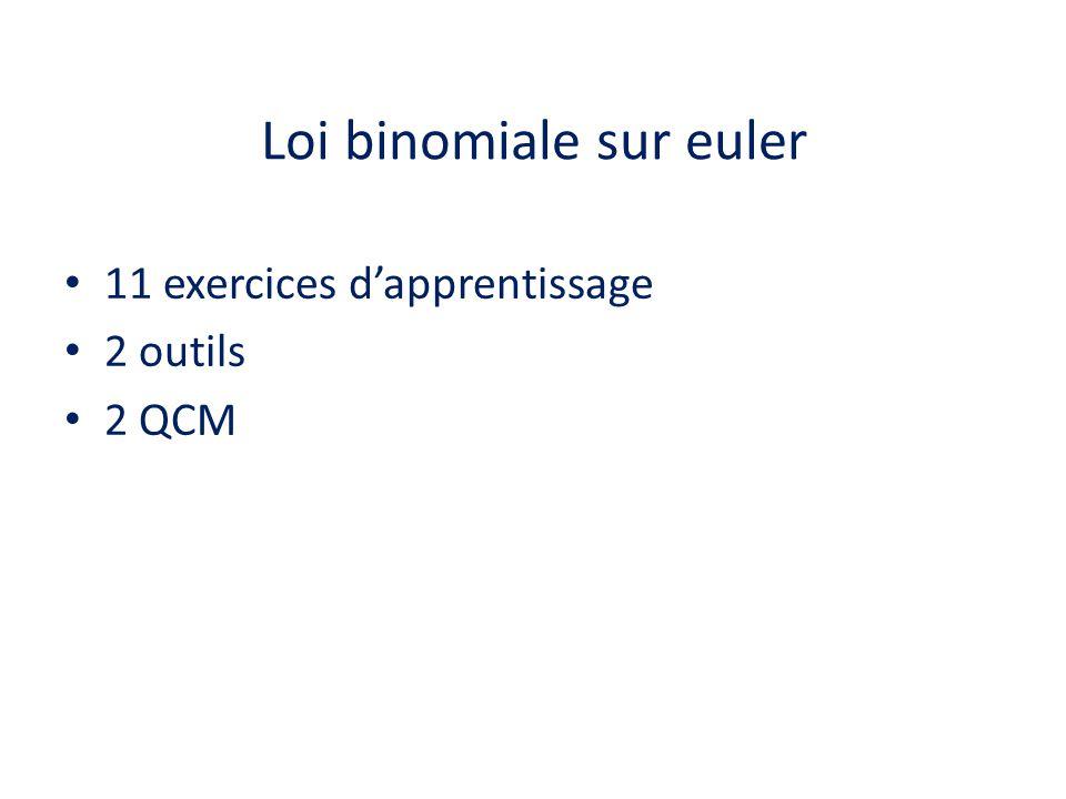 Loi binomiale sur euler • 11 exercices d'apprentissage • 2 outils • 2 QCM