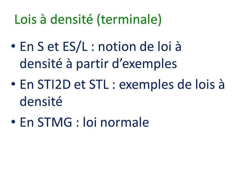 Lois à densité (terminale) • En S et ES/L : notion de loi à densité à partir d'exemples • En STI2D et STL : exemples de lois à densité • En STMG : loi