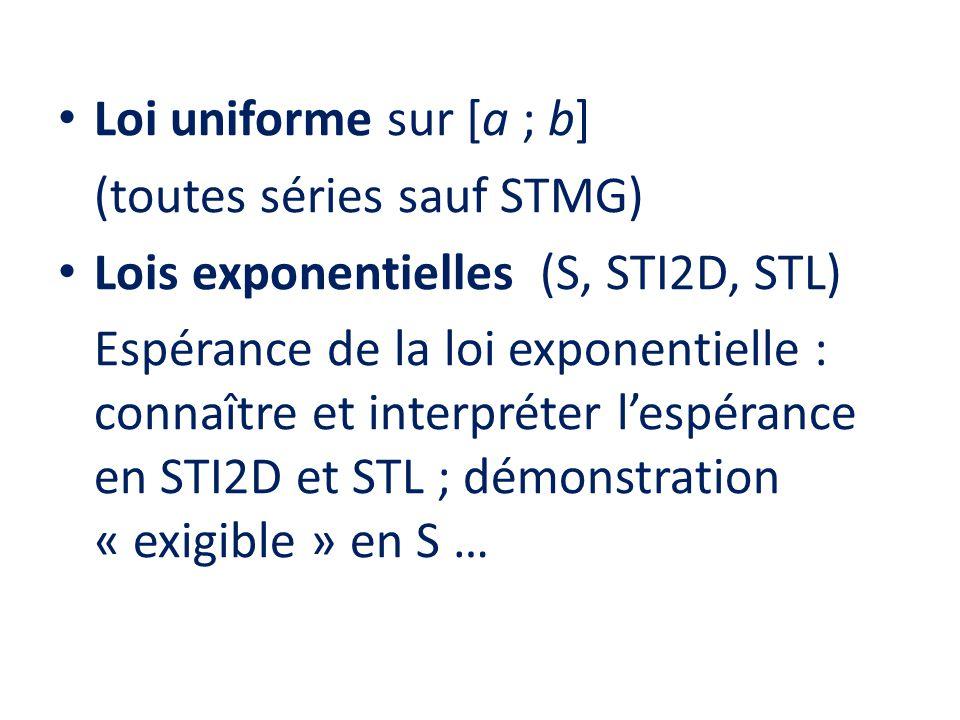 • Loi uniforme sur [a ; b] (toutes séries sauf STMG) • Lois exponentielles (S, STI2D, STL) Espérance de la loi exponentielle : connaître et interpréte
