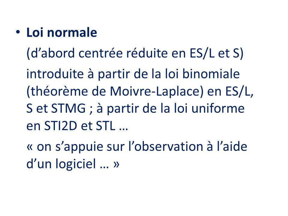 • Loi normale (d'abord centrée réduite en ES/L et S) introduite à partir de la loi binomiale (théorème de Moivre-Laplace) en ES/L, S et STMG ; à parti