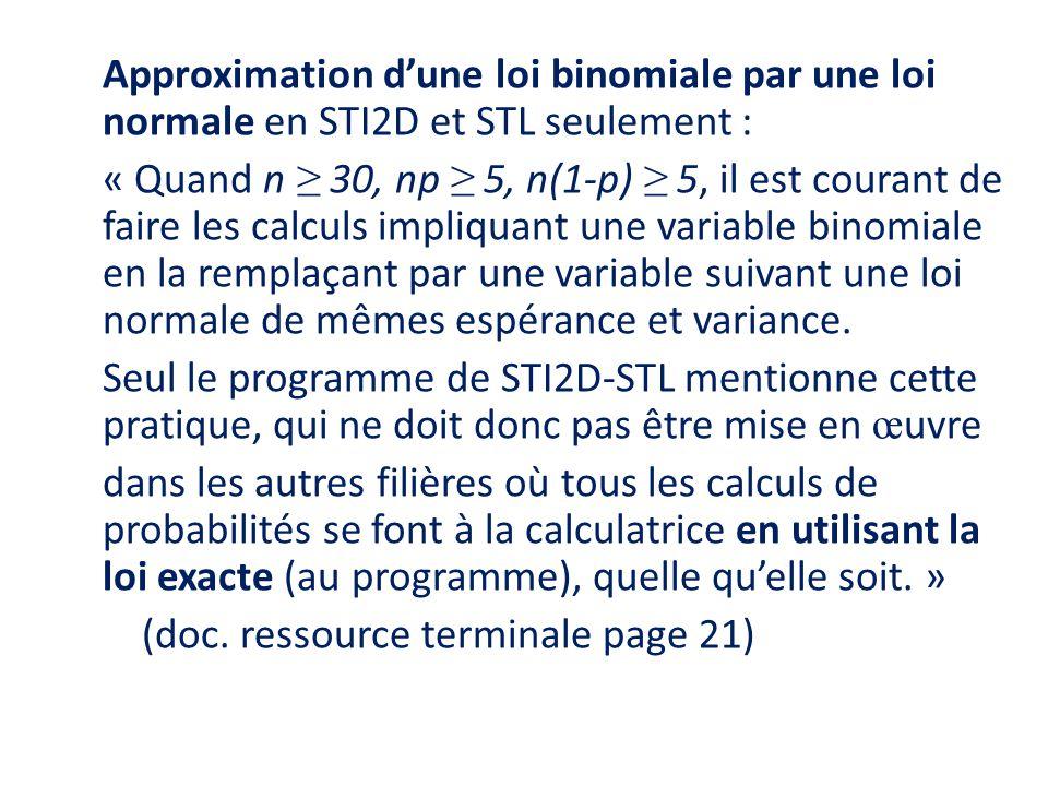 Approximation d'une loi binomiale par une loi normale en STI2D et STL seulement : « Quand n ≥ 30, np ≥ 5, n(1-p) ≥ 5, il est courant de faire les calc