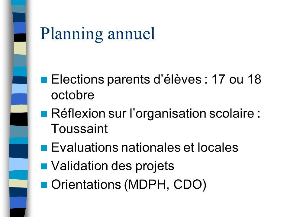 Planning annuel  Elections parents d'élèves : 17 ou 18 octobre  Réflexion sur l'organisation scolaire : Toussaint  Evaluations nationales et locales  Validation des projets  Orientations (MDPH, CDO)