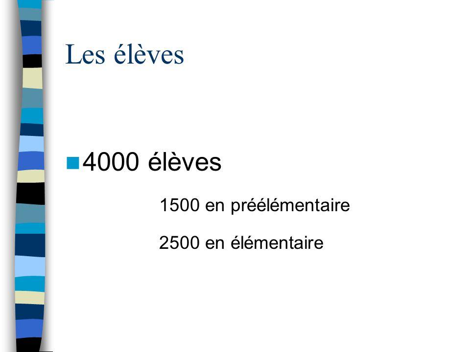 Les élèves  4000 élèves 1500 en préélémentaire 2500 en élémentaire