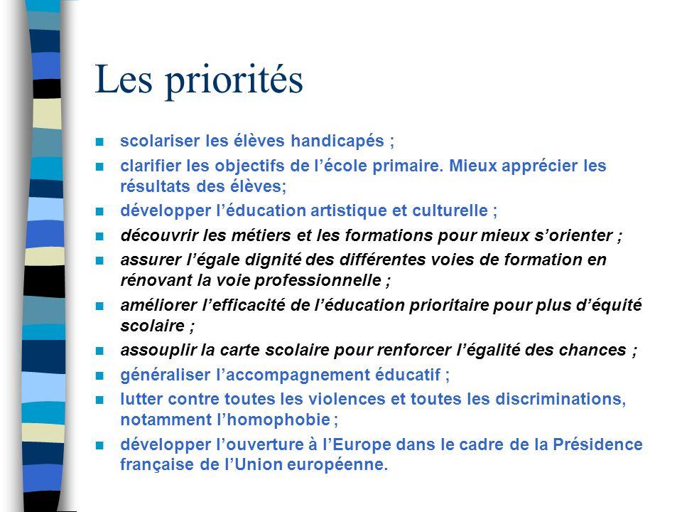 Les priorités  scolariser les élèves handicapés ;  clarifier les objectifs de l'école primaire.