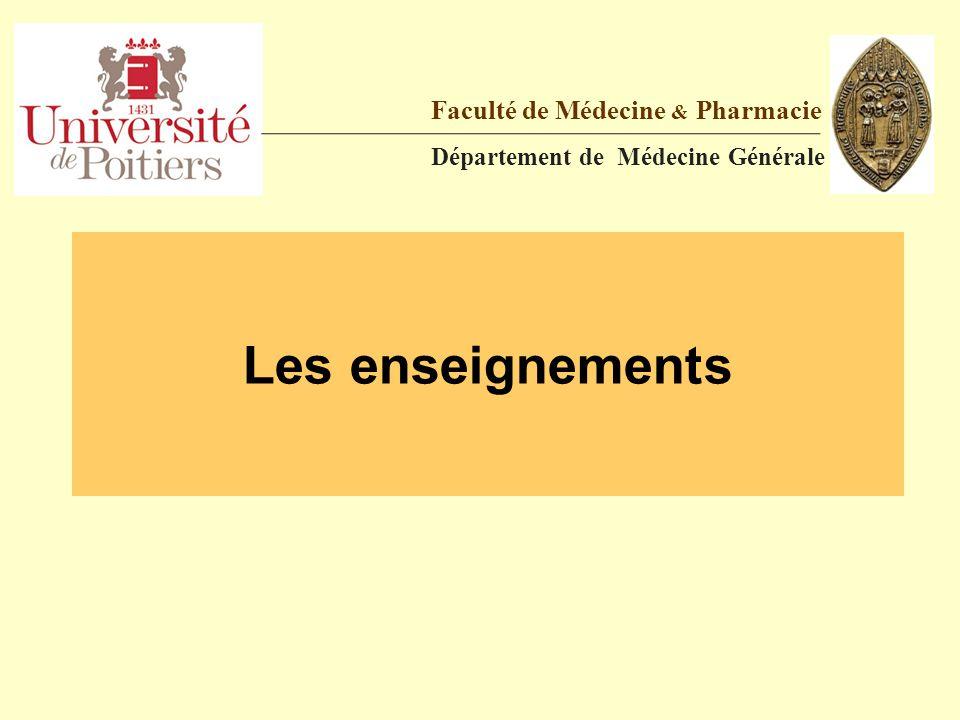 Les enseignements Faculté de Médecine & Pharmacie Département de Médecine Générale