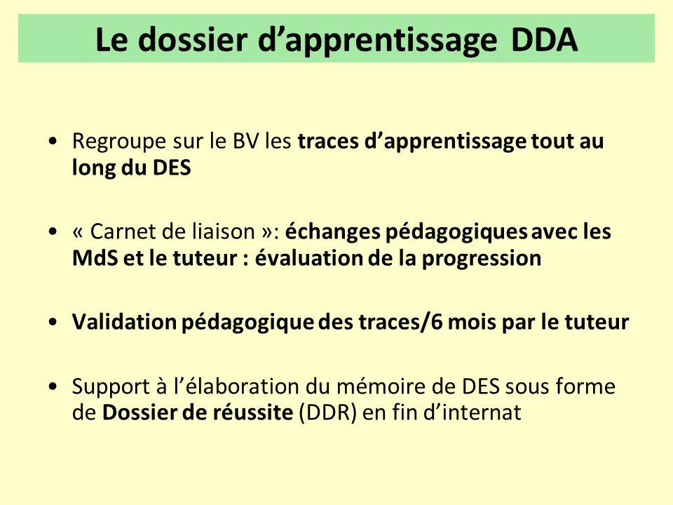 •Regroupe sur le BV les traces d'apprentissage tout au long du DES •« Carnet de liaison »: échanges pédagogiques avec les MdS et le tuteur : évaluatio