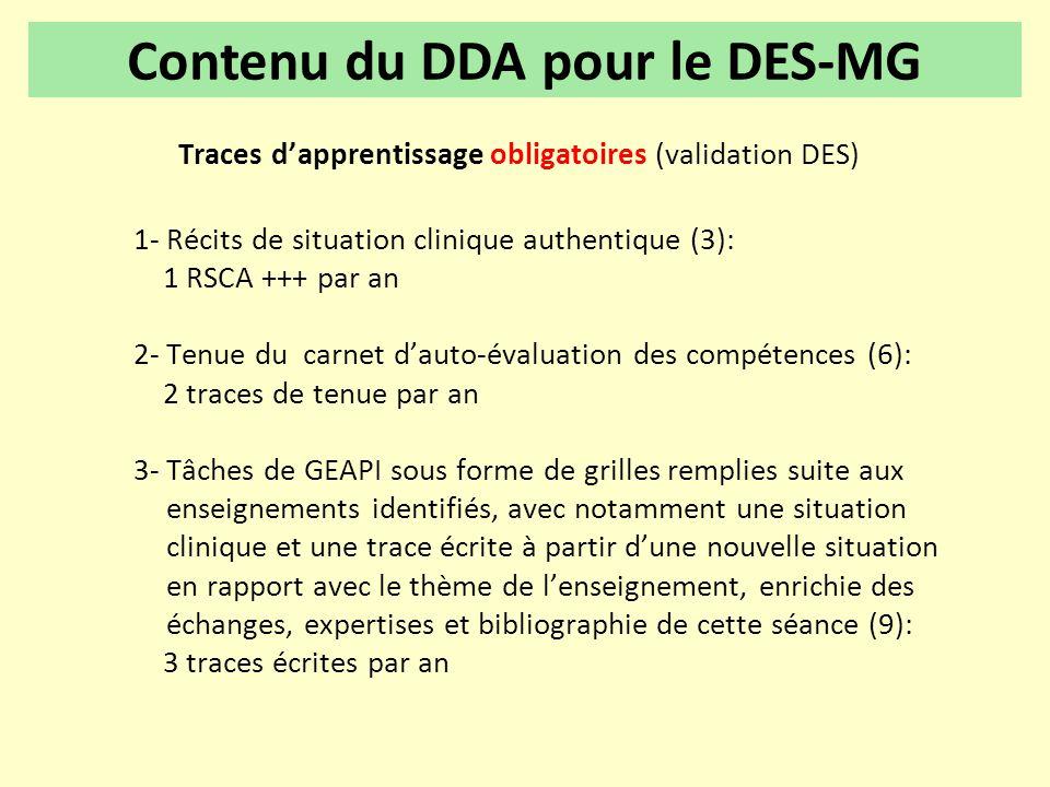 Traces d'apprentissage obligatoires (validation DES) 1- Récits de situation clinique authentique (3): 1 RSCA +++ par an 2- Tenue du carnet d'auto-éval