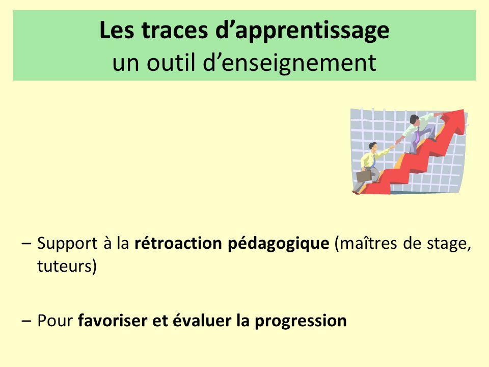 –Support à la rétroaction pédagogique (maîtres de stage, tuteurs) –Pour favoriser et évaluer la progression Les traces d'apprentissage un outil d'ense