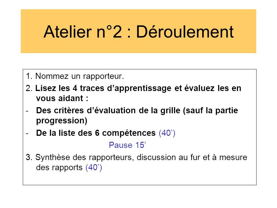 Atelier n°2 : Déroulement 1. Nommez un rapporteur. 2. Lisez les 4 traces d'apprentissage et évaluez les en vous aidant : -Des critères d'évaluation de