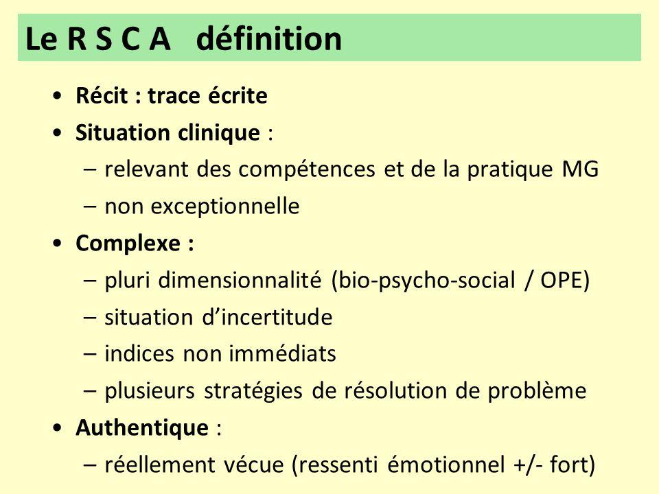 •Récit : trace écrite •Situation clinique : –relevant des compétences et de la pratique MG –non exceptionnelle •Complexe : –pluri dimensionnalité (bio