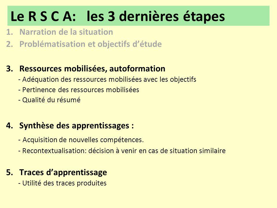 1. Narration de la situation 2. Problématisation et objectifs d'étude 3. Ressources mobilisées, autoformation - Adéquation des ressources mobilisées a