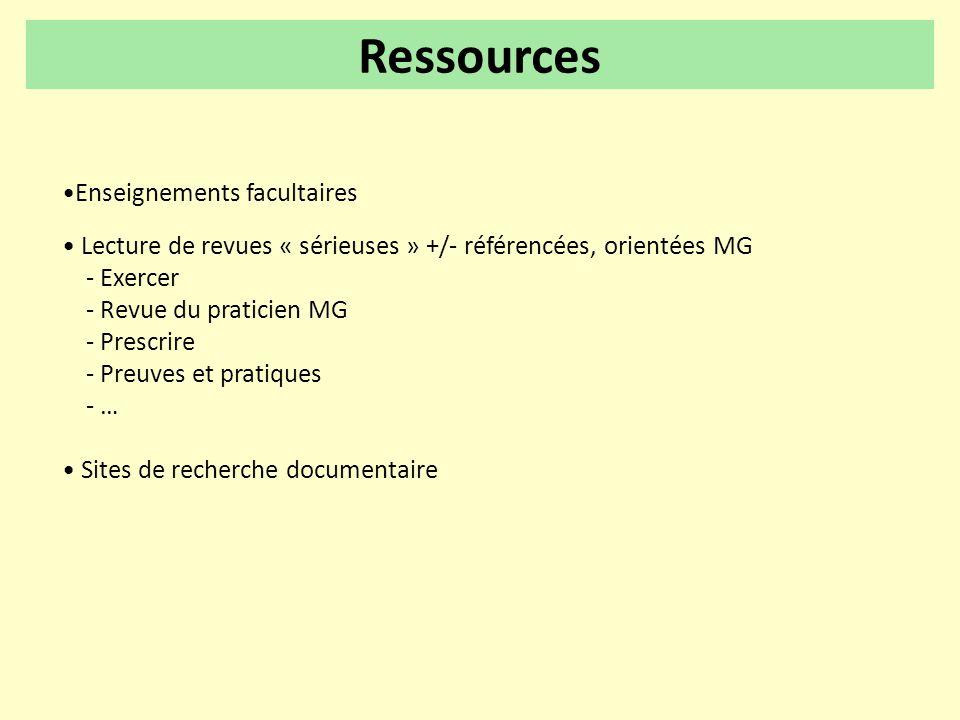 •Enseignements facultaires • Lecture de revues « sérieuses » +/- référencées, orientées MG - Exercer - Revue du praticien MG - Prescrire - Preuves et
