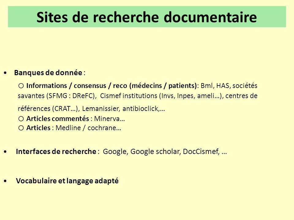 •Banques de donnée : o Informations / consensus / reco (médecins / patients): Bml, HAS, sociétés savantes (SFMG : DReFC), Cismef institutions (Invs, I