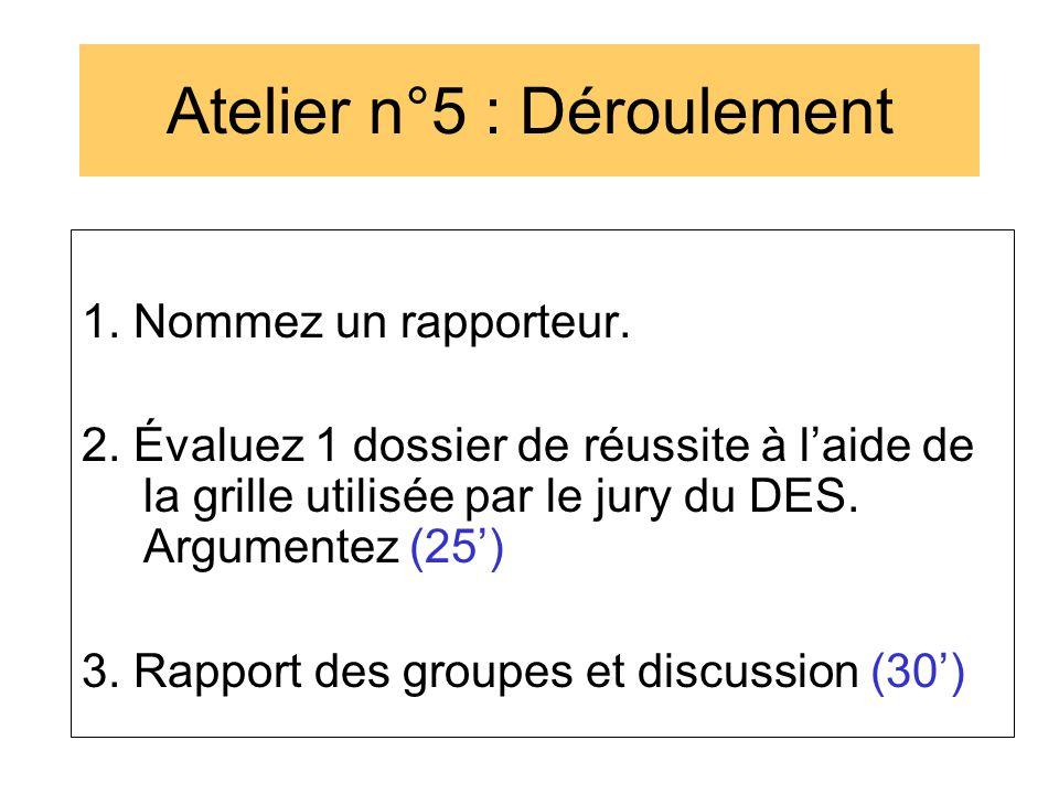 Atelier n°5 : Déroulement 1. Nommez un rapporteur. 2. Évaluez 1 dossier de réussite à l'aide de la grille utilisée par le jury du DES. Argumentez (25'