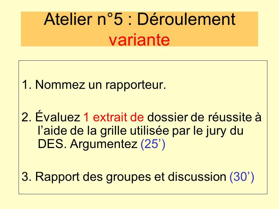 Atelier n°5 : Déroulement variante 1. Nommez un rapporteur. 2. Évaluez 1 extrait de dossier de réussite à l'aide de la grille utilisée par le jury du