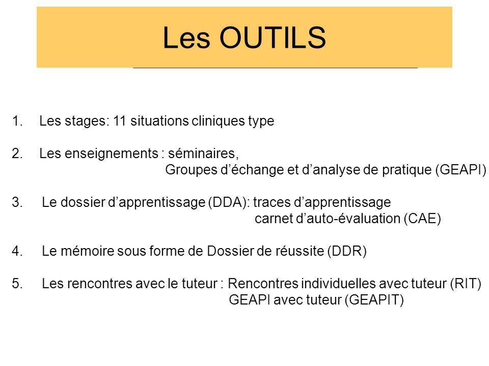 Les OUTILS 1.Les stages: 11 situations cliniques type 2.Les enseignements : séminaires, Groupes d'échange et d'analyse de pratique (GEAPI) 3. Le dossi