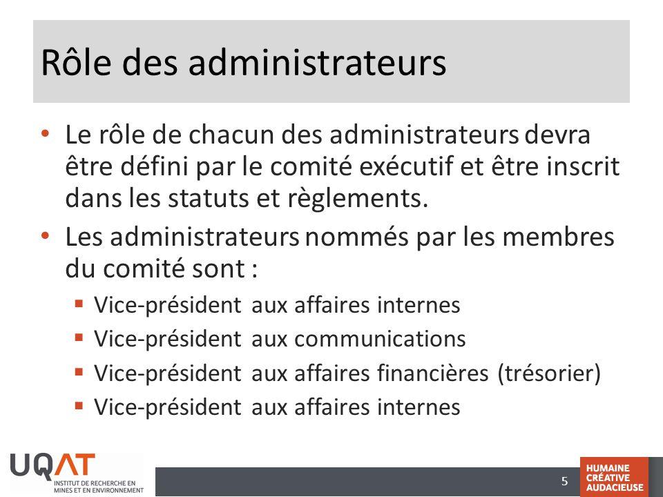 5 Rôle des administrateurs • Le rôle de chacun des administrateurs devra être défini par le comité exécutif et être inscrit dans les statuts et règlem
