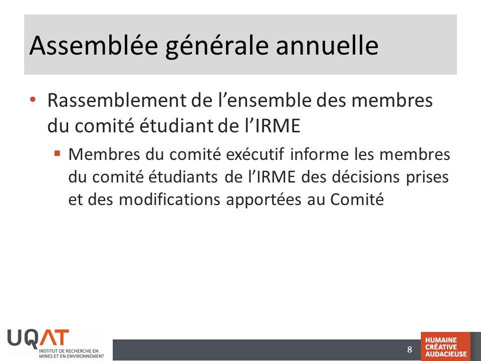 8 Assemblée générale annuelle • Rassemblement de l'ensemble des membres du comité étudiant de l'IRME  Membres du comité exécutif informe les membres
