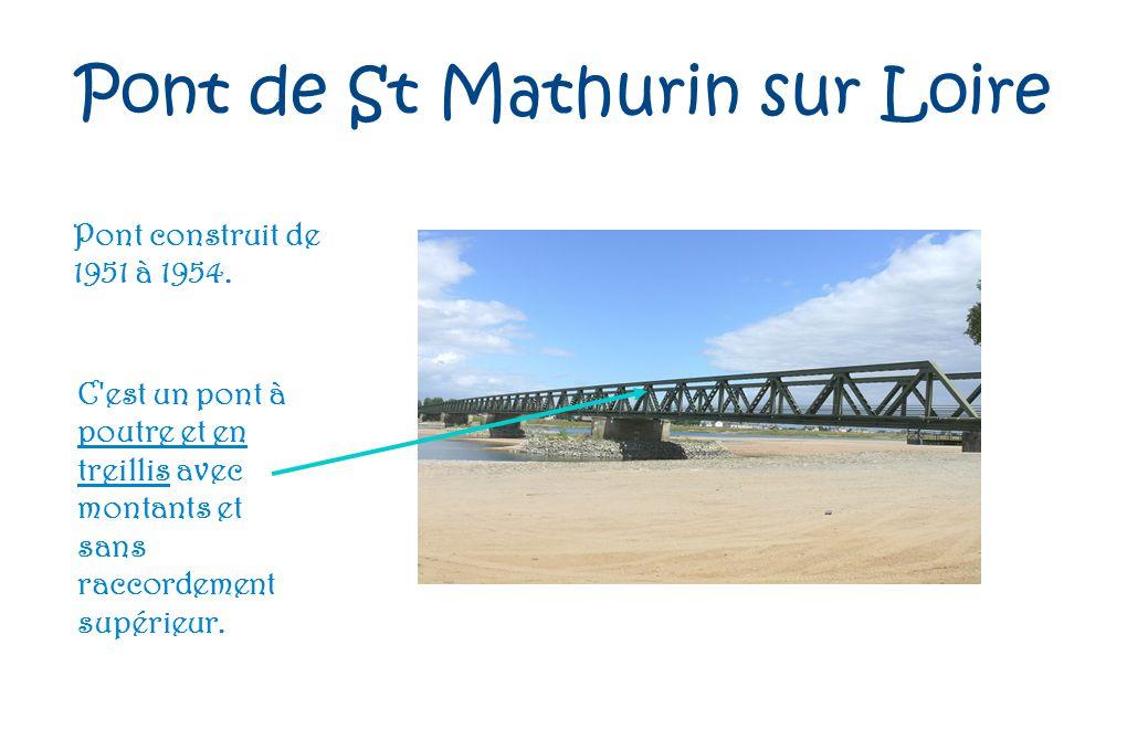 Pont de St Mathurin sur Loire Pont construit de 1951 à 1954. C'est un pont à poutre et en treillis avec montants et sans raccordement supérieur.