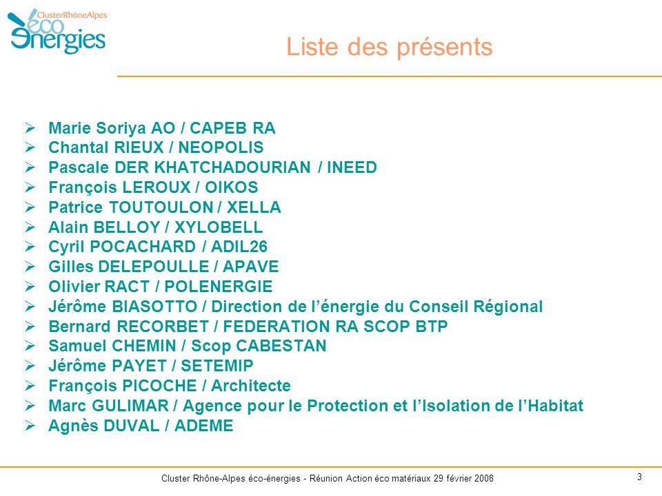 Cluster Rhône-Alpes éco-énergies - Réunion Action éco matériaux 29 février 2008 3 Liste des présents  Marie Soriya AO / CAPEB RA  Chantal RIEUX / NE