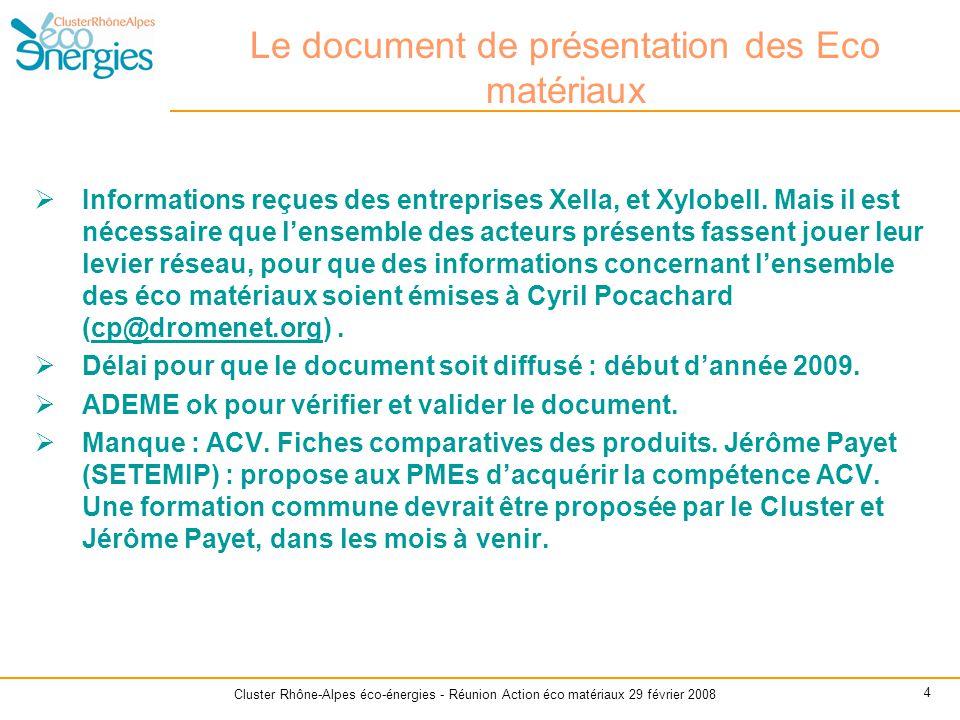 Cluster Rhône-Alpes éco-énergies - Réunion Action éco matériaux 29 février 2008 4 Le document de présentation des Eco matériaux  Informations reçues