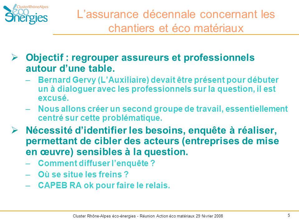 Cluster Rhône-Alpes éco-énergies - Réunion Action éco matériaux 29 février 2008 5 L'assurance décennale concernant les chantiers et éco matériaux  Ob