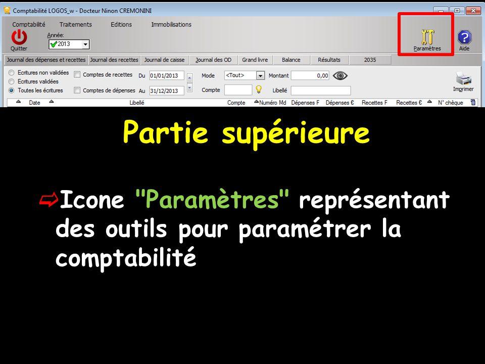 Partie supérieure  Icone Paramètres représentant des outils pour paramétrer la comptabilité