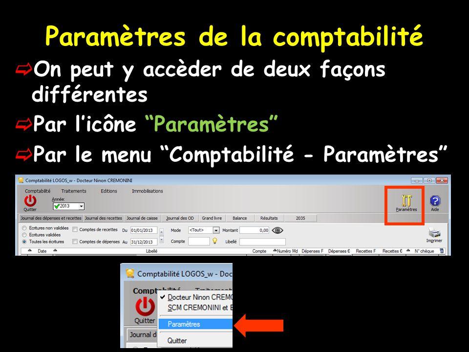 Paramètres de la comptabilité  On peut y accèder de deux façons différentes  Par l'icône Paramètres  Par le menu Comptabilité - Paramètres