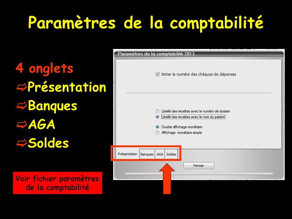 Paramètres de la comptabilité 4 onglets  Présentation  Banques  AGA  Soldes Voir fichier paramètres de la comptabilité