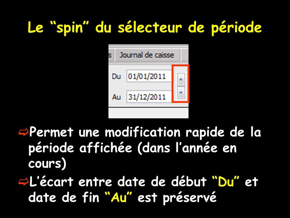 Le spin du sélecteur de période  Permet une modification rapide de la période affichée (dans l'année en cours)  L'écart entre date de début Du et date de fin Au est préservé