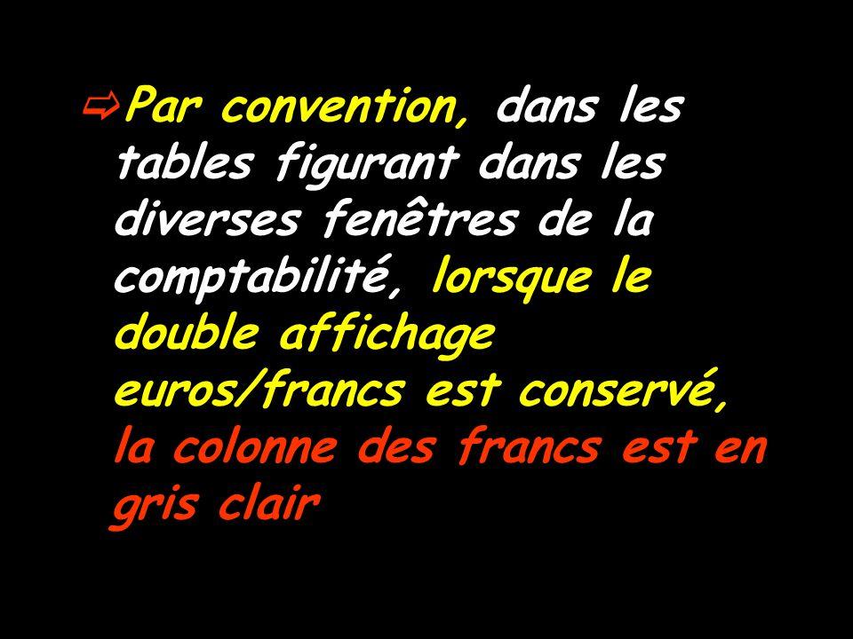  Par convention, dans les tables figurant dans les diverses fenêtres de la comptabilité, lorsque le double affichage euros/francs est conservé, la colonne des francs est en gris clair