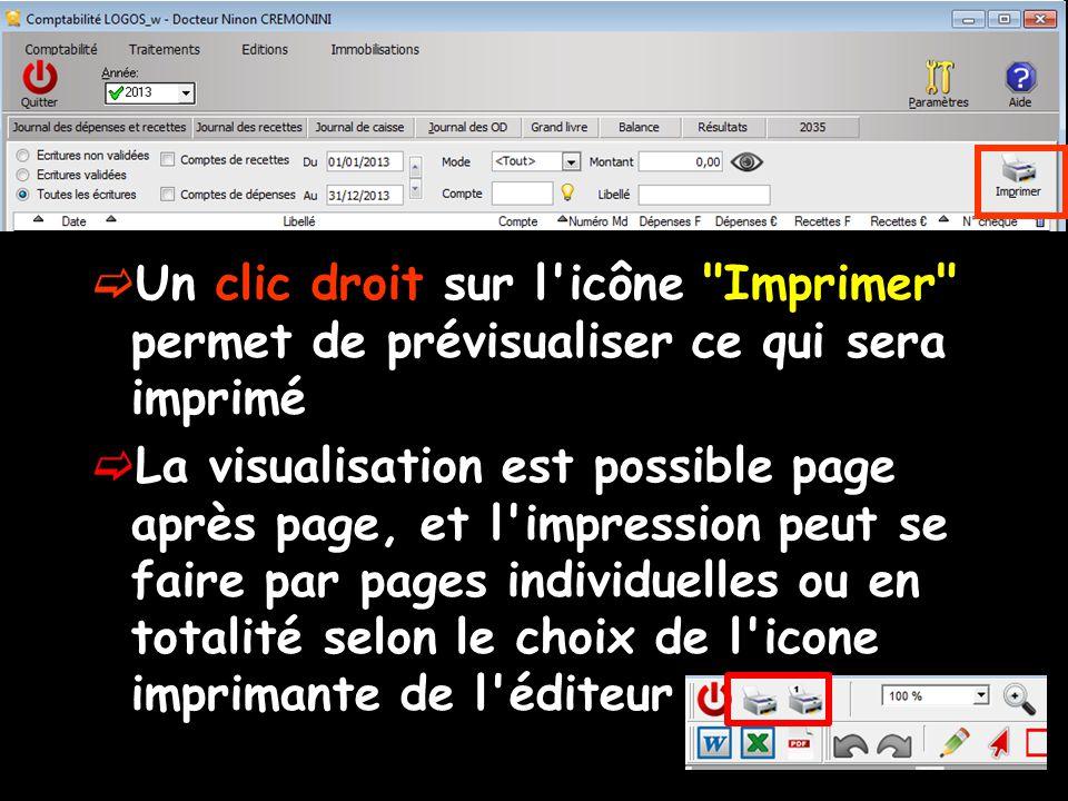  Un clic droit sur l icône Imprimer permet de prévisualiser ce qui sera imprimé  La visualisation est possible page après page, et l impression peut se faire par pages individuelles ou en totalité selon le choix de l icone imprimante de l éditeur