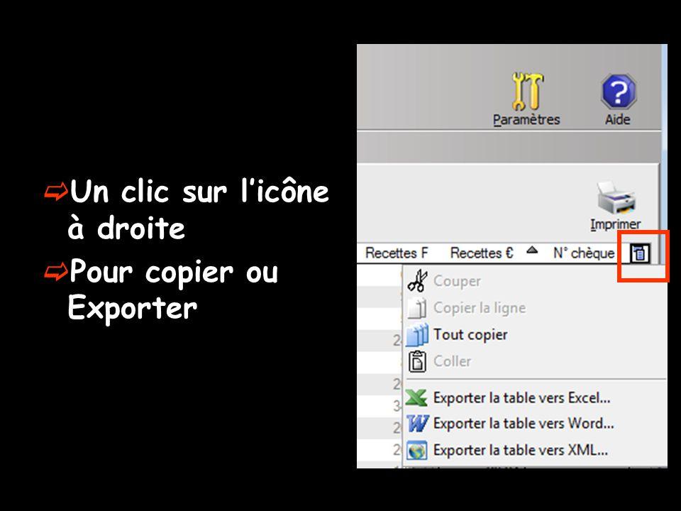  Un clic sur l'icône à droite  Pour copier ou Exporter