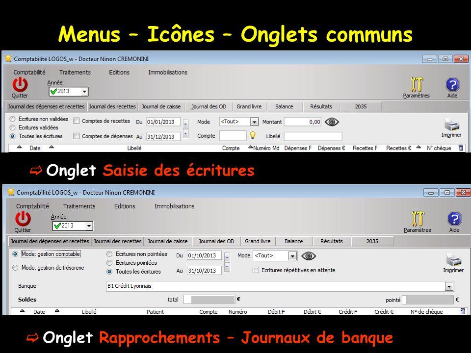 Menus – Icônes – Onglets communs  Onglet Saisie des écritures  Onglet Rapprochements – Journaux de banque