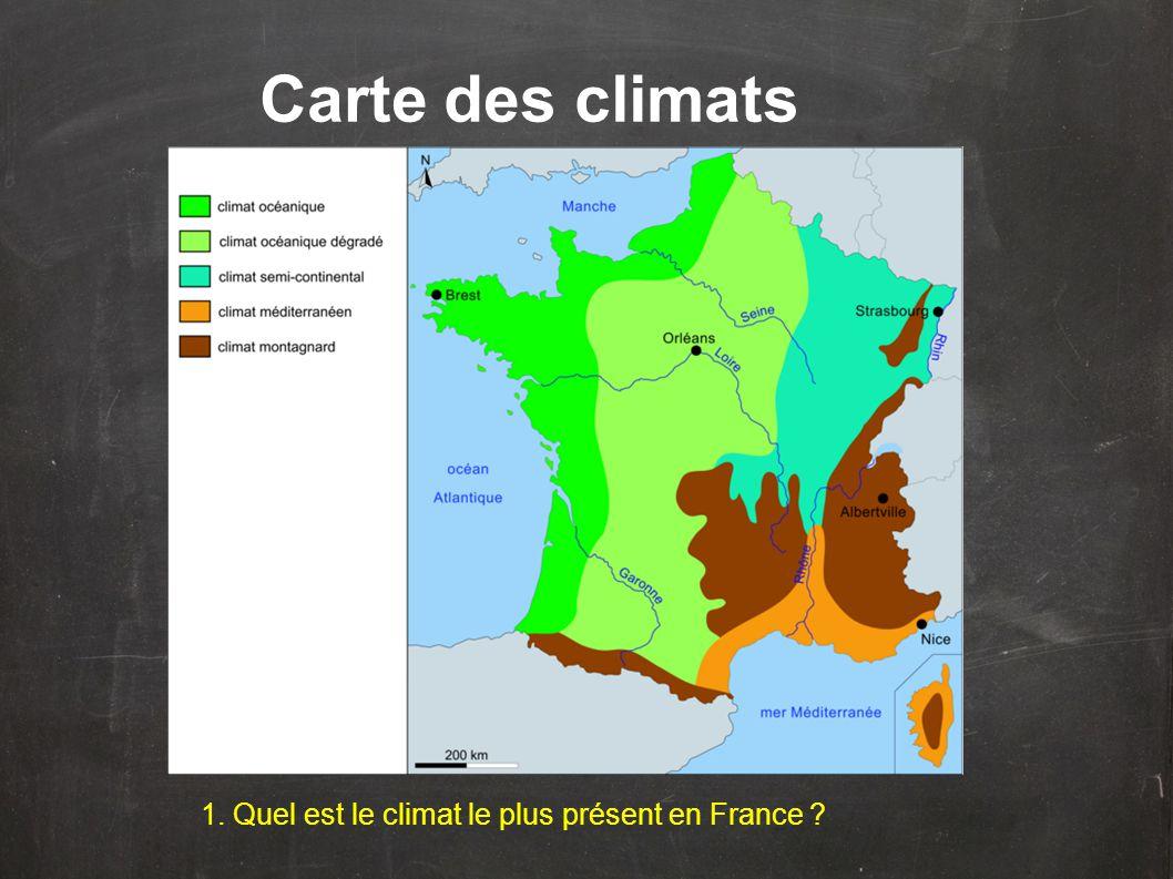1. Quel est le climat le plus présent en France ? Carte des climats