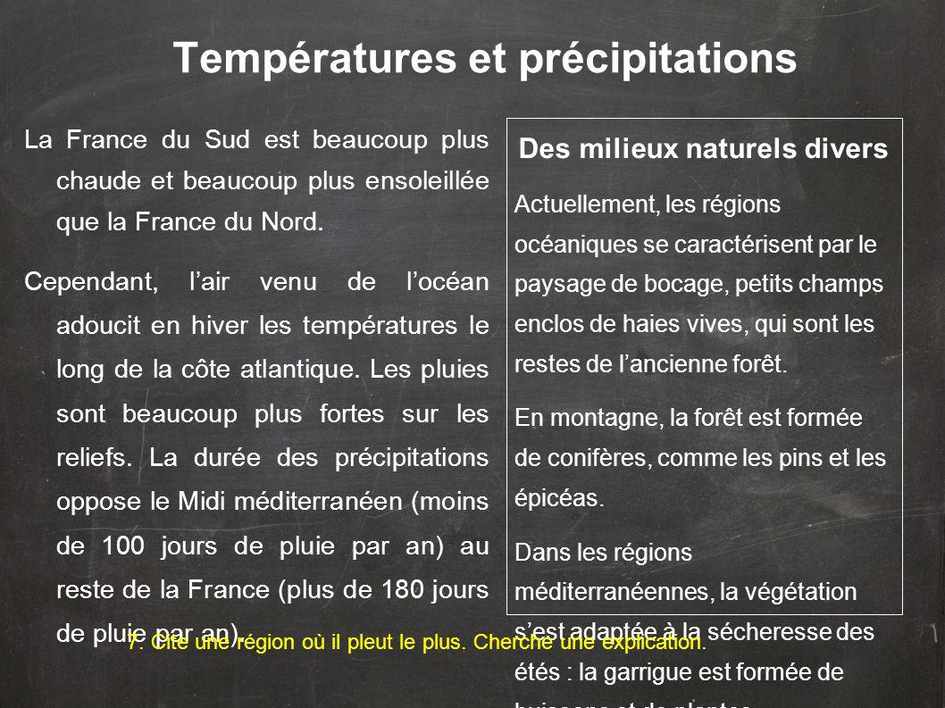 Températures et précipitations La France du Sud est beaucoup plus chaude et beaucoup plus ensoleillée que la France du Nord. Cependant, l'air venu de