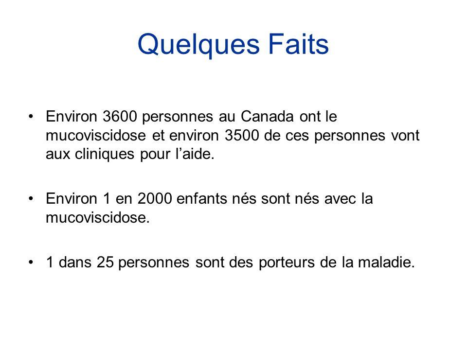 Quelques Faits •Environ 3600 personnes au Canada ont le mucoviscidose et environ 3500 de ces personnes vont aux cliniques pour l'aide. •Environ 1 en 2