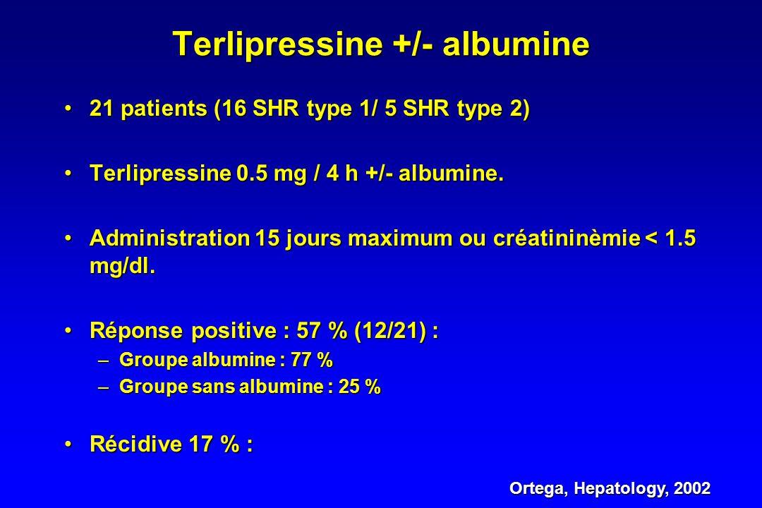 Bénéfice réelle de la terlipressine ? Colle, J Gastroenterol Hepatol, 2002 •Réponse positive : 60 % (11 patients /18). •Facteurs prédictifs de réponse