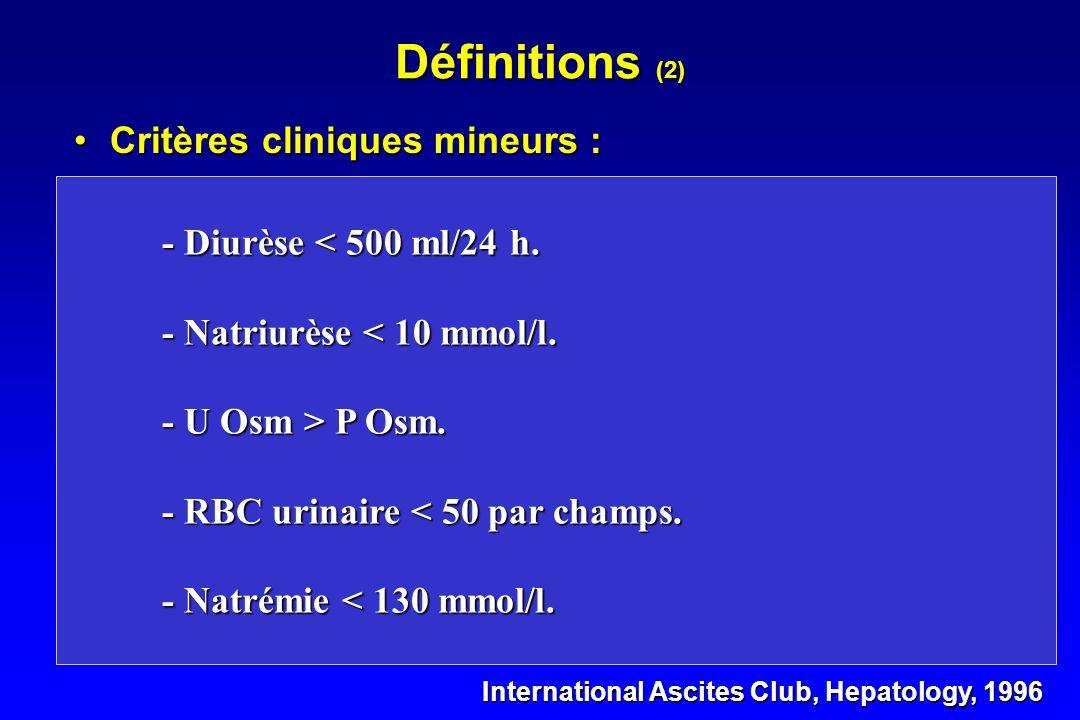 Définitions (1) •Critères cliniques majeurs : International Ascites Club, Hepatology, 1996 - Absence de choc, d 'infection évolutive, de traitement né