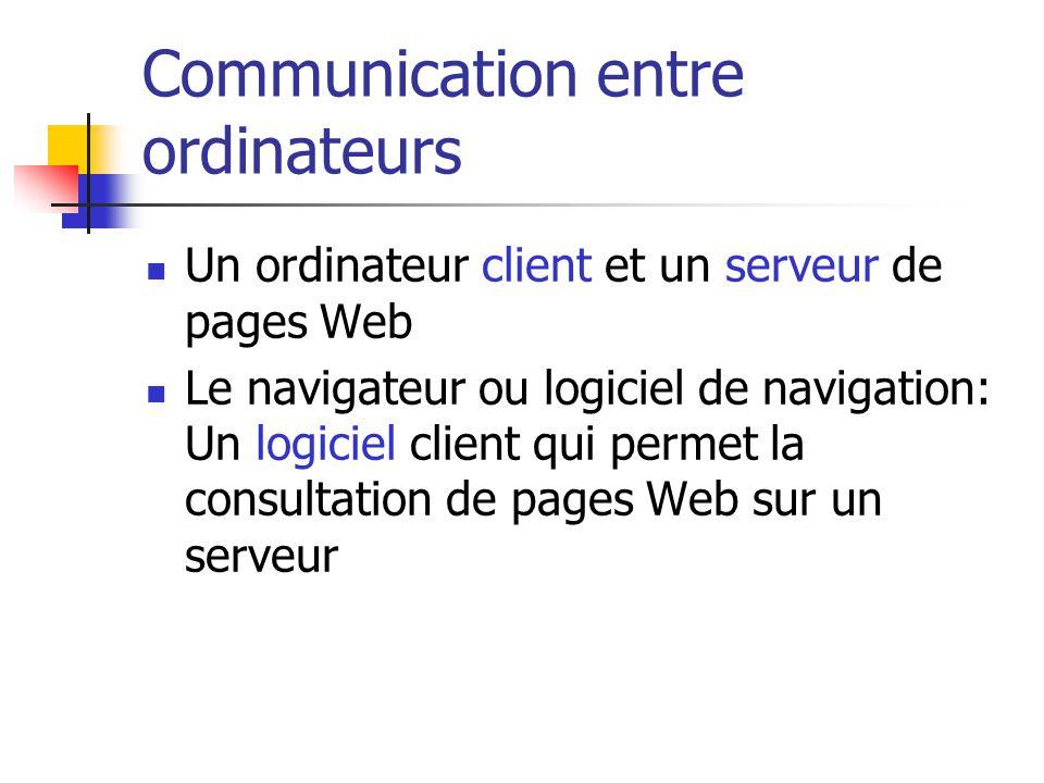 Communication entre ordinateurs  Un ordinateur client et un serveur de pages Web  Le navigateur ou logiciel de navigation: Un logiciel client qui pe