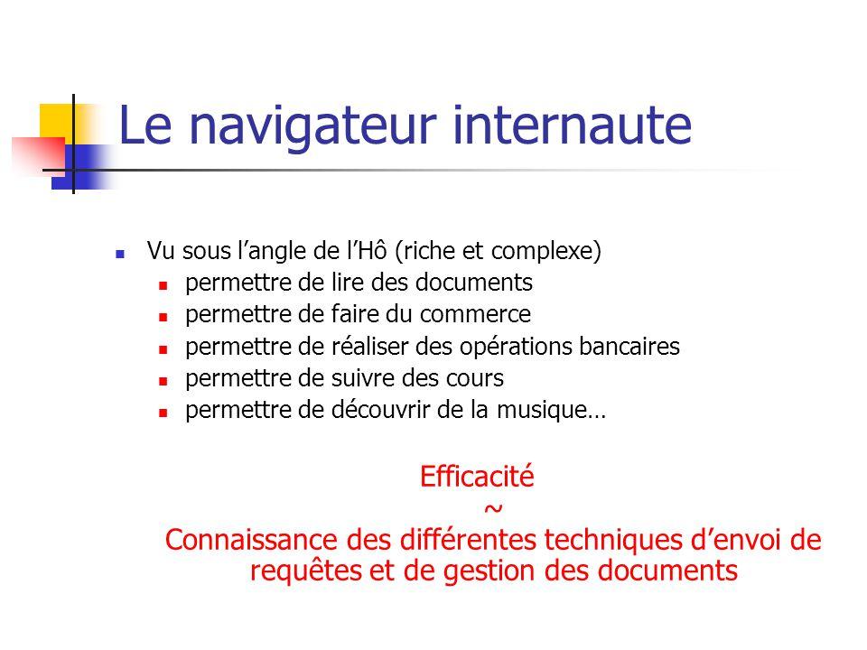 Le navigateur internaute  Vu sous l'angle de l'Hô (riche et complexe)  permettre de lire des documents  permettre de faire du commerce  permettre