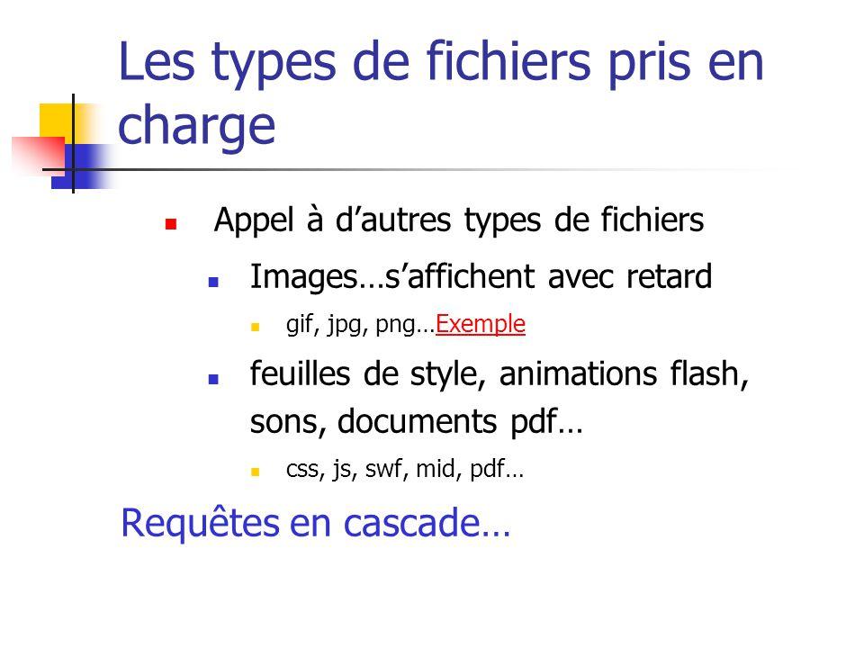 Les types de fichiers pris en charge  Appel à d'autres types de fichiers  Images…s'affichent avec retard  gif, jpg, png…ExempleExemple  feuilles d