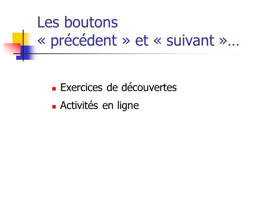 Les boutons « précédent » et « suivant »…  Exercices de découvertes  Activités en ligne