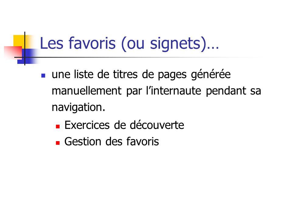 Les favoris (ou signets)…  une liste de titres de pages générée manuellement par l'internaute pendant sa navigation.  Exercices de découverte  Gest