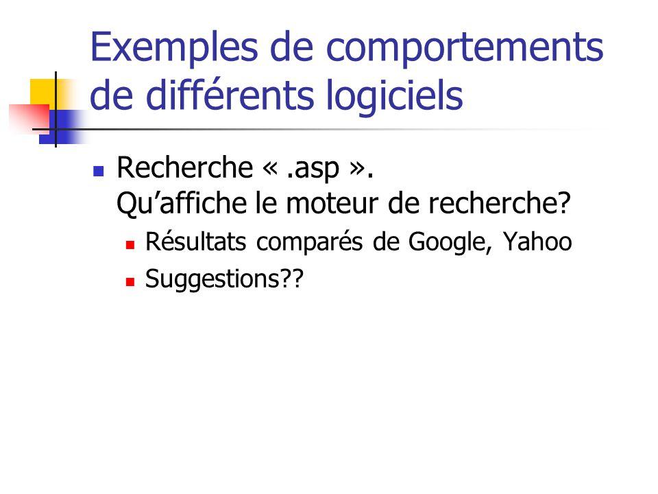 Exemples de comportements de différents logiciels  Recherche «.asp ». Qu'affiche le moteur de recherche?  Résultats comparés de Google, Yahoo  Sugg