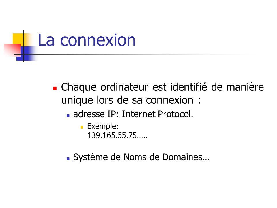 La connexion  Chaque ordinateur est identifié de manière unique lors de sa connexion :  adresse IP: Internet Protocol.  Exemple: 139.165.55.75….. 