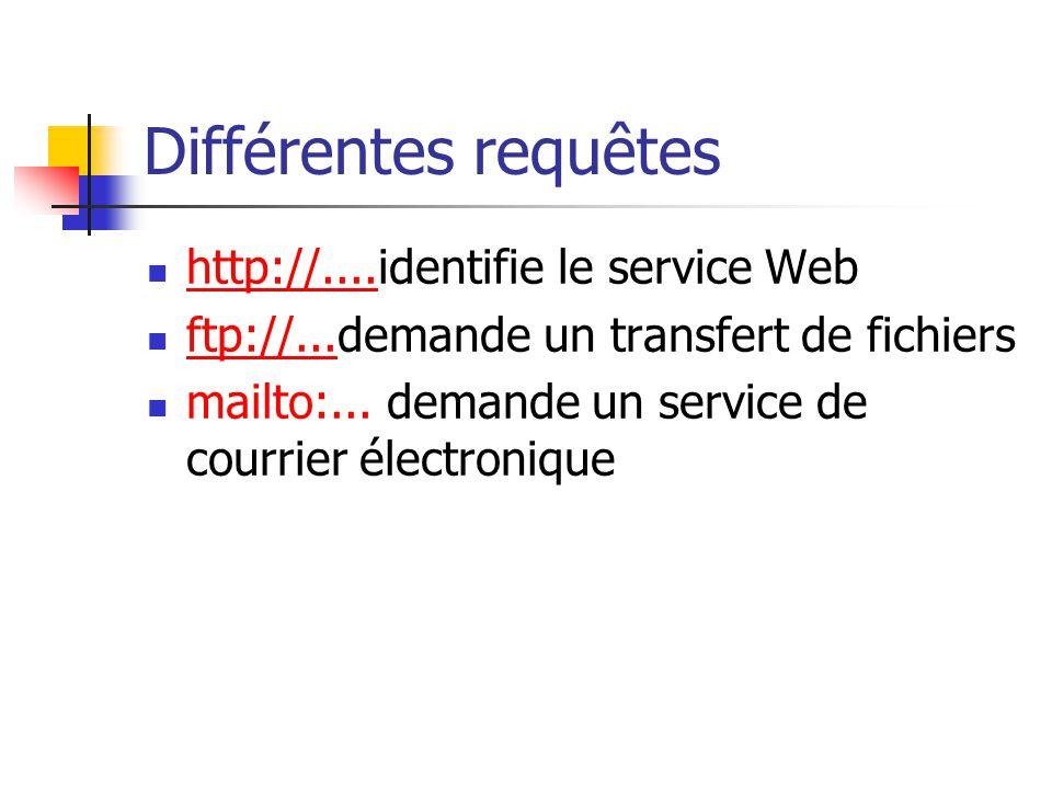 Différentes requêtes  http://....identifie le service Web http://....  ftp://...demande un transfert de fichiers ftp://...  mailto:... demande un s