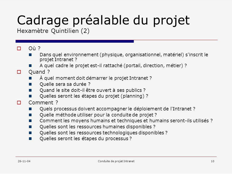 26-11-04Conduite de projet Intranet10 Cadrage préalable du projet Hexamètre Quintilien (2)  Où ?  Dans quel environnement (physique, organisationnel