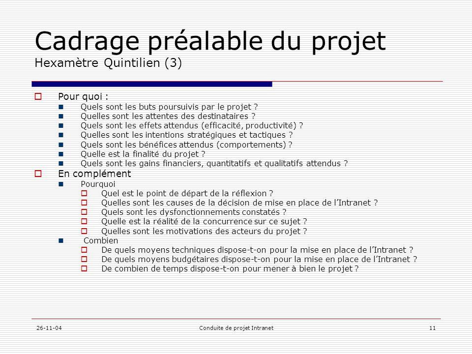 26-11-04Conduite de projet Intranet11 Cadrage préalable du projet Hexamètre Quintilien (3)  Pour quoi :  Quels sont les buts poursuivis par le proje